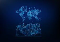 Abstract of world With Antarctica map network, internet and global connection concept, Wire Frame 3D mesh polygonal network line,. Design sphere, dot and stock illustration