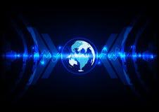 Abstract world blue technology background. illustration  Stock Image