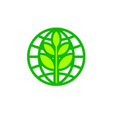 Abstract World Earth Day globe icon with leaf Royalty Free Stock Photo