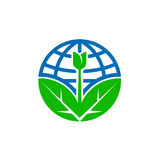 Abstract World Earth Day globe icon with leaf Stock Photos