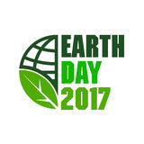 Abstract World Earth Day globe icon with leaf Royalty Free Stock Image