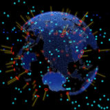 Abstract world globe, hologram, world map, particle Royalty Free Stock Images