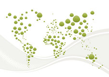 Abstract world globe and wave. A unique abstract with a variety of green dots or blobs arranged to roughly outline the continents of the world on a white royalty free illustration