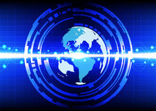 Abstract world line circle effect on blue color background Royalty Free Stock Photography