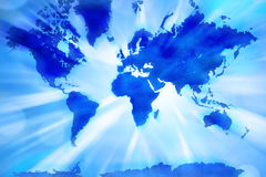 Abstract World Map. A world map with an abstract background and blue tones royalty free illustration