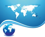 Abstract world map. Abstract dynamic and world map in gradient  blue background Royalty Free Stock Image