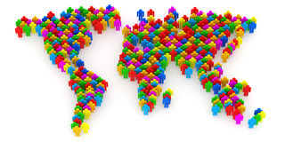 Abstract World Map from 3d people Stock Photo