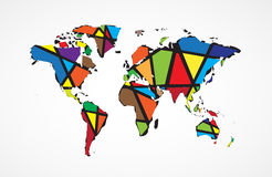 Abstract World map background in polygonal style Stock Photography