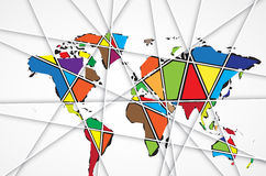 Abstract World map background in polygonal style. Format stock illustration