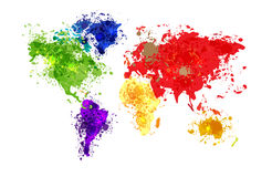 Abstract World map background in polygonal style Royalty Free Stock Image
