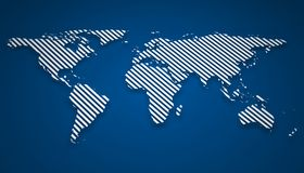 Abstract world map on blue background. 3d illustration Royalty Free Stock Photos