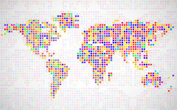 Abstract world map from colorful pixels Royalty Free Stock Image