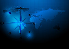 Abstract world map and compass concept design. Some Elements of this image furnished by NASA Stock Photography