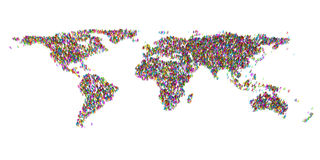 Abstract World Map from 3d people Stock Image