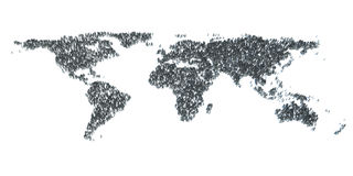 Abstract World Map from 3d people.  Stock Photo