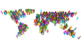 Abstract World Map from 3d people.  Royalty Free Stock Photography