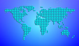Abstract world map from 3D squares. Vector illustration Royalty Free Stock Photo