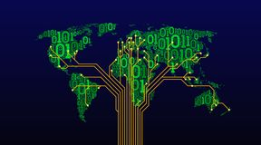 Abstract world map from a digital binary code on a dark background, a connection between cities in the form of a printed circuit b