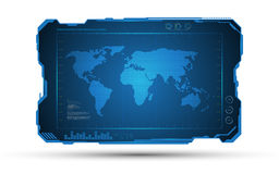 Abstract world map digital frame tech sci fi concept design background Stock Photography