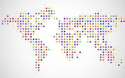 Abstract world map of dots on white background. Vector royalty free illustration