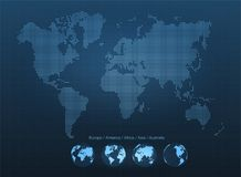 Abstract world map with globes. Planet Earth, network, global communication, science and technology concept Royalty Free Stock Image