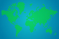 Abstract  World map of green round dots Stock Images