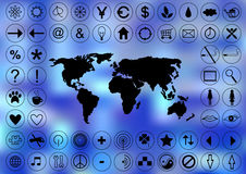 Abstract world map and icons Stock Photos