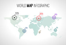Abstract world map infographic with points and destinations.  royalty free illustration