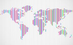 Abstract World map with lines. World stripes map. Vector royalty free illustration