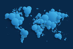 Abstract world map made of spheres - blue version Stock Images