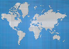 Abstract world map, made up of polygons, sci-fi. World map texture made up of many square pixels Royalty Free Stock Images
