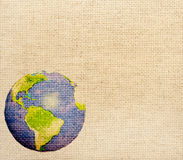 Abstract world map printed on canvas texture Stock Images