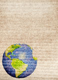 Abstract world map printed on paper texture Stock Images