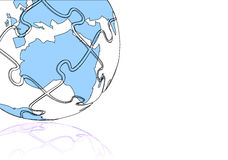 Abstract World map puzzle. In blue with reflection Stock Photography
