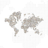 Abstract world map in a round dots. Flat  illustration EPS 10 Stock Photo