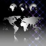 Abstract world map with shadow. World globes. Vector illustration Stock Photography