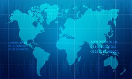 Abstract world map in technology design background. World map in blue color technology background Stock Photo