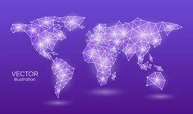 Abstract world map in a triangular shape violet neon light. On a purple background. Vector illustration. Abstract world map in a triangular shape violet neon vector illustration