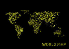 Abstract World map. Vector illustration of abstract world map on the black background Stock Photos