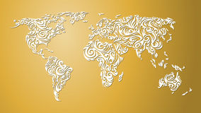 Abstract world map, yellow Stock Images