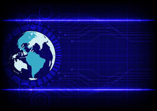Abstract world technology electronic line blue color background Stock Photos