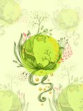 Abstract World with trees flowers leaves petals planet  in  green. Abstract World with trees flowers leaves petals  in green. Symbolic composition. Metamorphosis Stock Photo