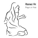 Abstract worshiper and prayer woman on knee in line art illustration black and white; Christianity art decoration isolate graphic. Royalty Free Stock Images