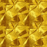 Abstract wrinkled folded metal pattern resembling brushed foil. Gold, yellow and brown metal background of polygonal shapes stock illustration