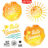 Abstract wtercolor background.Summer design.Logo Royalty Free Stock Image