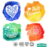 Abstract wtercolor card,background.Summer design Stock Photos