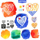 Abstract wtercolor Summer typography heart design Royalty Free Stock Images