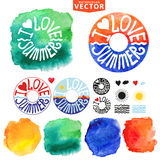 Abstract wtercolor Summer typography lifebuoy Royalty Free Stock Photo