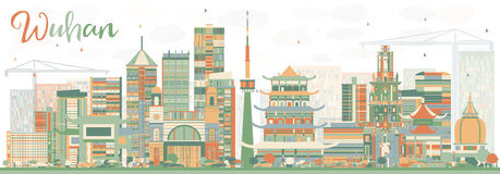 Abstract Wuhan Skyline with Color Buildings. Vector Illustration. Business Travel and Tourism Concept with Modern Architecture. Image for Presentation Banner Royalty Free Stock Photo