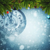 Abstract Xmas backgrounds. With old watches and christmas decorations Stock Image